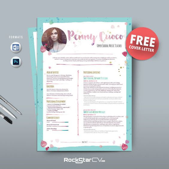 Resume Template and FREE Cover Letter, Teacher Resume, Word Resume ...