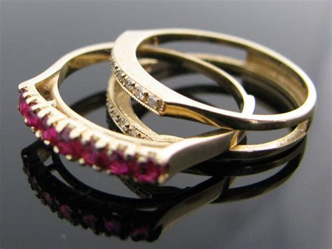 Vintage Diamond, Ruby & Sapphire Inter Changeable Ring 14k