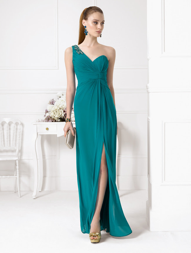 Chic One Shoudler Sleeveless Crystal Detailling Split Long Emerald Green Bridesmaid Dress _2