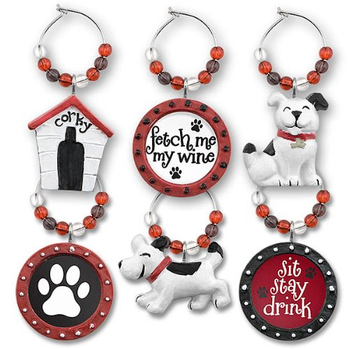 Hand Painted Doggy Wine Glass Charms with Colored Beads (Set of 6)