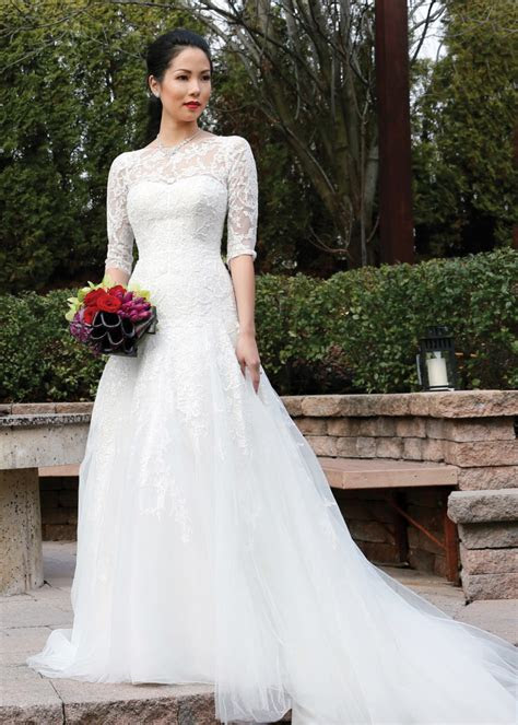 oleg cassini  sleeve   dropped waist wedding gown