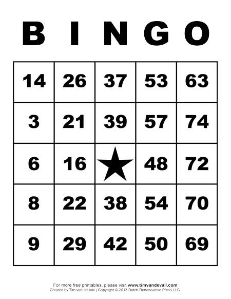 Printable Picture Bingo Cards