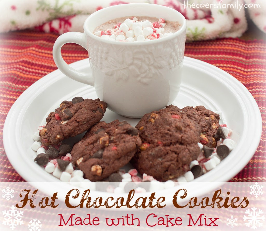 Hot Chocolate Cookies made with cake mix
