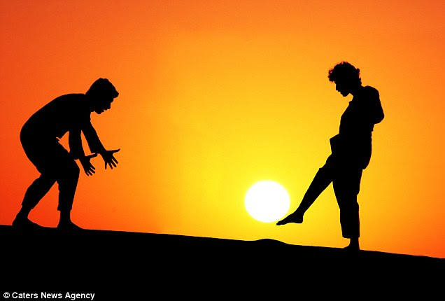 Goal-den moment: Penalty kicks with the setting sun