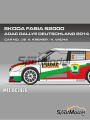 Mf-zone: Calcas escala 1/24 - Skoda Fabia S2000 Evo Landpute Nº 36 - Armin Kremer (DE) + Klaus Wicha (FR) - Rally de Alemania ADAC 2014 - para kit de Belkits BEL-004