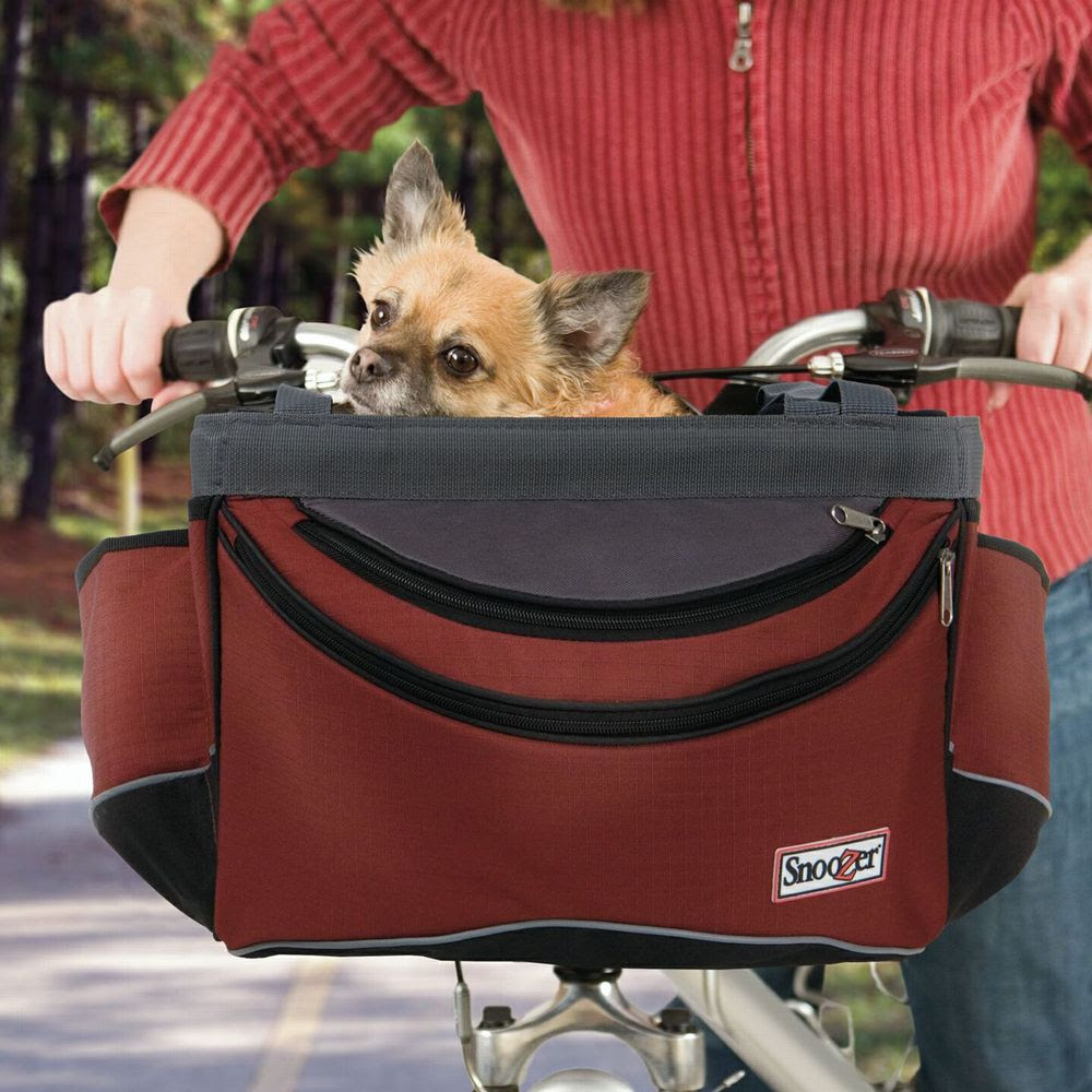 Active gear for dogs.  This Bicycle Pet Basket attaches to a bicycle and allows you to take your small dog or other small pet along for a bicycle ride!