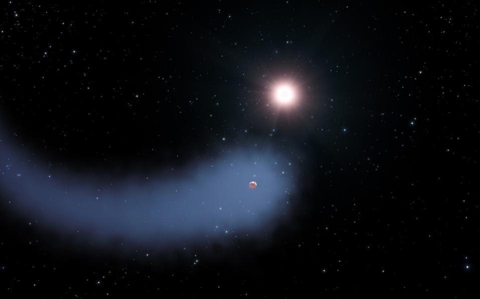 Απεικόνιση του ερυθρού νάνου και του πλανήτη Gliese 436b, που οι επιστήμονες ονόμασαν Βεεμώθ, χάρη στην εντυπωσιακή ουρά υδρογόνου η οποία τον ακολουθεί στην τροχιά του.