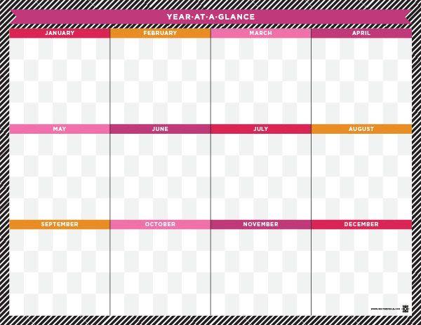 Editable Year At A Glance Calendar Calendar June