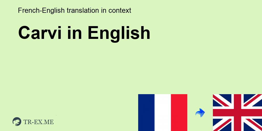 Carvi Traduction En Anglais Exemples Utilisation Dans