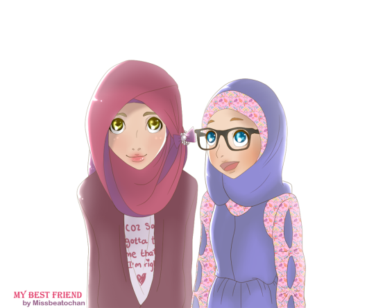 5800 Gambar Kartun Muslimah Kawan Baik HD Terbaik
