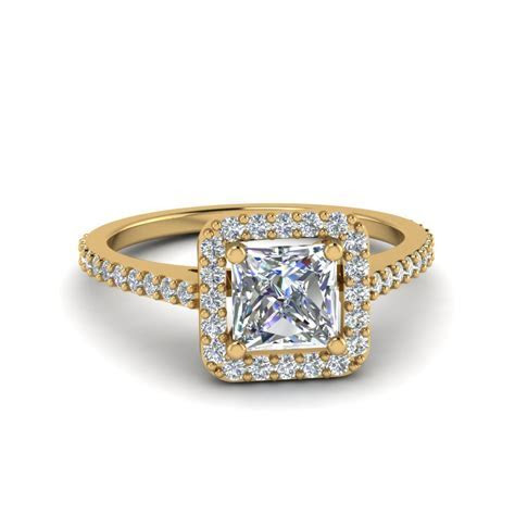 Princess Cut Square Halo Diamond Delicate Engagement Ring