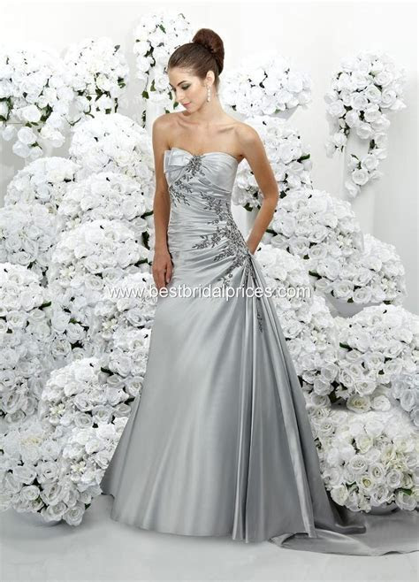Platinum Silver Wedding Dress   My wedding stuff   Pinterest
