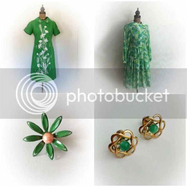 vintage 1960s green dress mod flower brooch atomic earrings