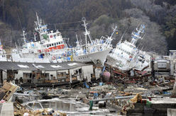 Tsunami aftermath in Kesennuma: Ships lie stranded in Kesennuma in Miyagi Prefecture, northeastern Japan, on March 16, 2011. The area was devastated by a massive earthquake and tsunami on March 11. (Kyodo, used w/o permission)