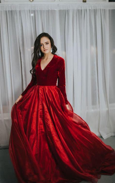 Modest Prom Dress Velvet prom dress Sleek Ball Gown Utah