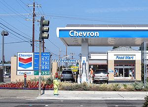 A gas station in Chevron Corporation's new tra...