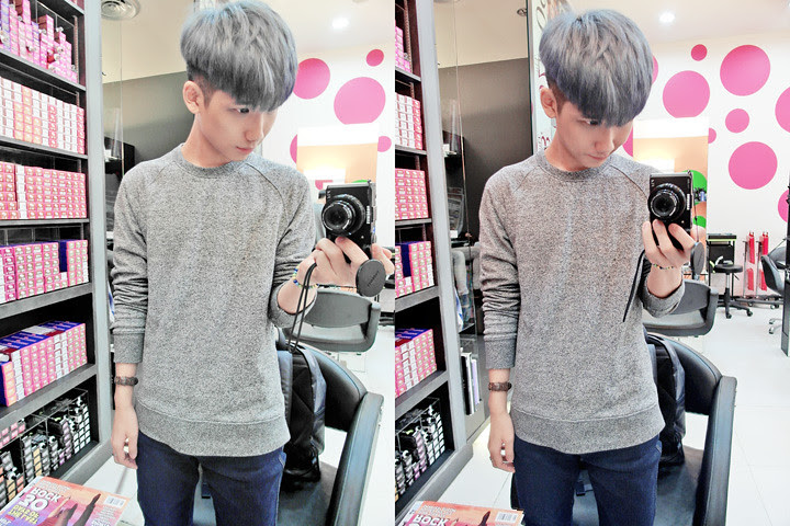 typicalben ash blue hair mirror shot