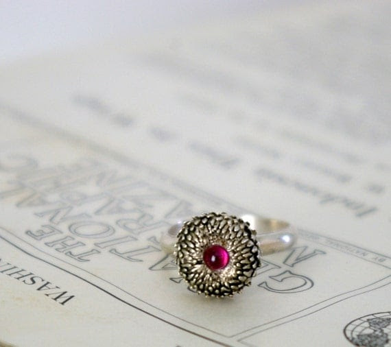 Sterling Silver Acorn Ring with Rhodonite Woodland Series