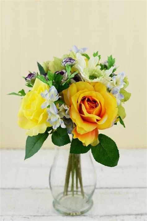 Rose & Gerbera Daisy Bouquet Yellow & Orange 12in