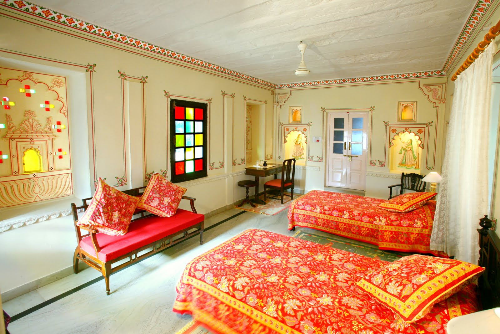 Rajasthani Style Interior Design beds and drapes