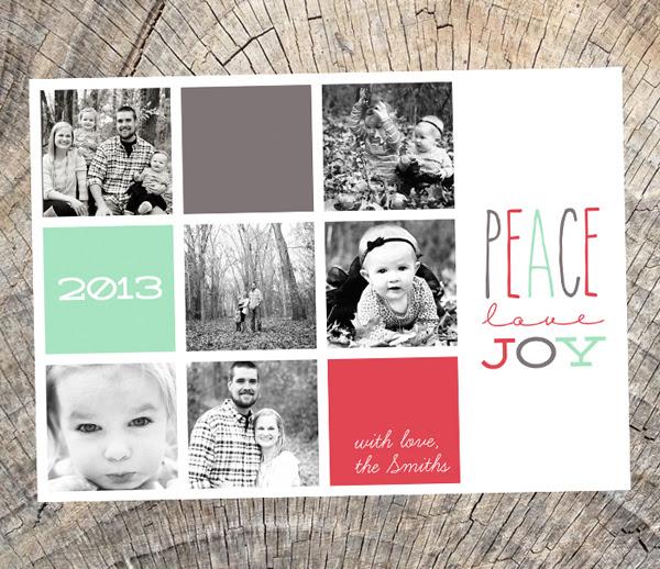 peace love joy - square grid photo card