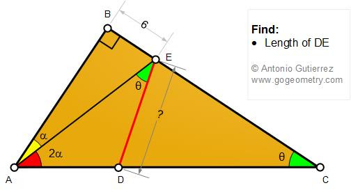 Geometry Problem 1482: Right Triangle, Perpendicular, Double Angle, Measurement.