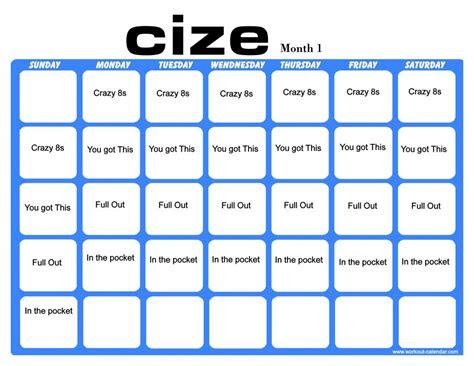 cize month  workout calendar workout calendars