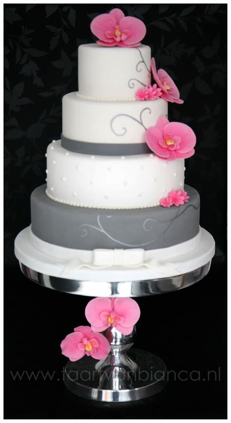 Gray and white with pink fondant flowers, I know not