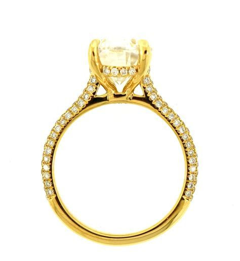 18K YELLOW GOLD 3.00CT OVAL MOISSANITE ENGAGEMENT RING