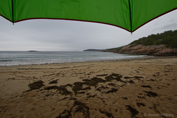a view of Sand Beach from under my umbrella