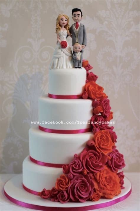 Bright pink and orange rose wedding cake   cake by Zoe's