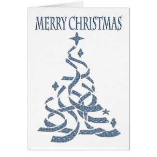 Abstract Christmas Tree in blue with seasonal gree Cards