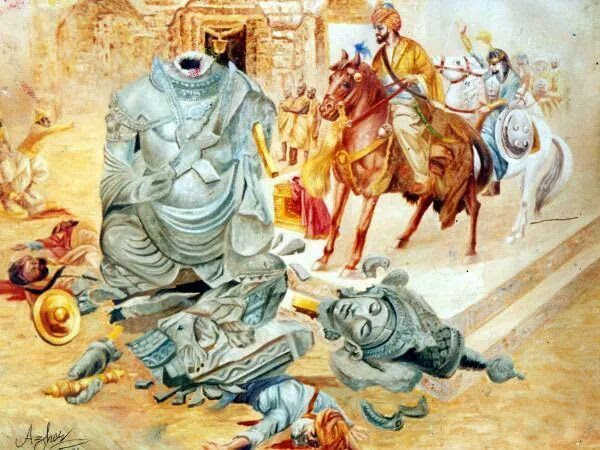 "Genocide Part 2: Mahmud of Ghazni  The founder of the Ghaznavid dynasty was a former Turkish slave, recognized by the Iranian Muslims as governor of Ghazni (a town near Kandahar). His son Mahmud (ruled in 998-1030) expanded the empire further into India. A devout Muslim, Mahmud converted the Ghaznavids into Islam, thus bringing Islam into the sub-continent's local population. In the 11th century, he made Ghazni the capital of the vast empire of the Ghaznavids, Afghanistan's first Muslim dynasty. The atrocities by Mahmud of Ghazni makes the Taliban look benign by comparison. Will Durant explains:[Reference]  ""The Mohammedan Conquest of India is probably the bloodiest in history. It is a discouraging tale, for its evident moral is that civilization is a precarious thing, whose delicate complex of order and liberty, culture and peace may at any time be overthrown by barbarians invading from without or multiplying within… For four hundred years (600-1000 A.D.) India invited conquest; and at last it came.""  ""In the year 997 a Turkish chieftain by the name of Mahmud became sultan of the little state of Ghazni, in eastern Afghanistan. Mahmud knew that his throne was young and poor, and saw that India, across the border, was old and rich; the conclusion was obvious. Pretending a holy zeal for destroying Hindu idolatry across the frontier with a force inspired by a pious aspiration for booty. He met the unprepared Hindus at Bhimnagar, slaughtered them, pillaged their cities, destroyed their temples, and carried away the accumulated treasures of centuries. Returning to Ghazni he astonished the ambassadors of foreign powers by displaying ""jewels and un-bored pearls and rubies shinning like sparks, or like wine congealed with ice, and emeralds like fresh sprigs of myrtle, and diamonds in size and weight like pomegranates.""""  ""Each winter Mahmud descended into India, filled his treasure chest with spoils, and amused his men with full freedom to pillage and kill; each spring he returned to his capital richer than before. At Mathura (on the Jumna) he took from the temple its statues of gold encrusted with precious stones, and emptied it coffers of a vast quantity of gold, silver and jewelry; he expressed his admiration for the architecture of the great shrine, judged that its duplication would cost one hundred million dinars and the labor of two hundred years, and then ordered it to be soaked with naptha and burnt to the ground. Six years later he sacked another opulent city of northern India, Somnath, killed all its fifty thousand inhabitants, and dragged its wealth to Ghazni. In the end he became, perhaps, the richest king that history has ever known.""  ""Sometimes he spared the population of the ravaged cities, and took them home to be sold as slaves; but so great was the number of such captives that after some years no one could be found to offer more than a few schillings for a slave. Before every important engagement Mahmud knelt in prayer, and asked the blessing of God upon his arms. He reigned for a third of a century; and when he died, full of years and honors, Moslem historians ranked him greatest monarch of his time, and one of the greatest sovereigns of any age.""  Reference:""The Story of Civilization: Our Oriental Heritage"", by Will Durant. MJF Books, NY. 1935. pp. 459-463"