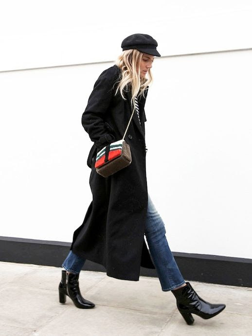 Le Fashion Blog Winter Style Black Cap Longline Wool Trench Coat Striped Sweater Shearling Crossbody Bag Cropped Denim Black Patent Leather Ankle Boots Via Fashion Me Now