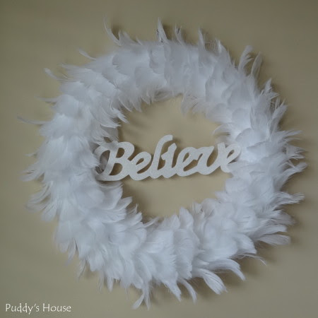 DIY Christmas Wreaths - Believe Feather Wreath