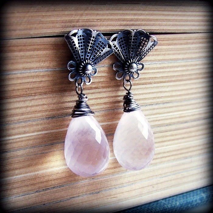 Misty Morning - sterling silver earrings / pink pastel earrings/ metalsmith earrings/ metalwork/ post earrings / studs / filigree/ spring