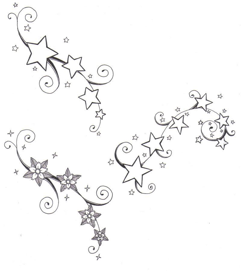 Stars And Flowers Tattoos Design