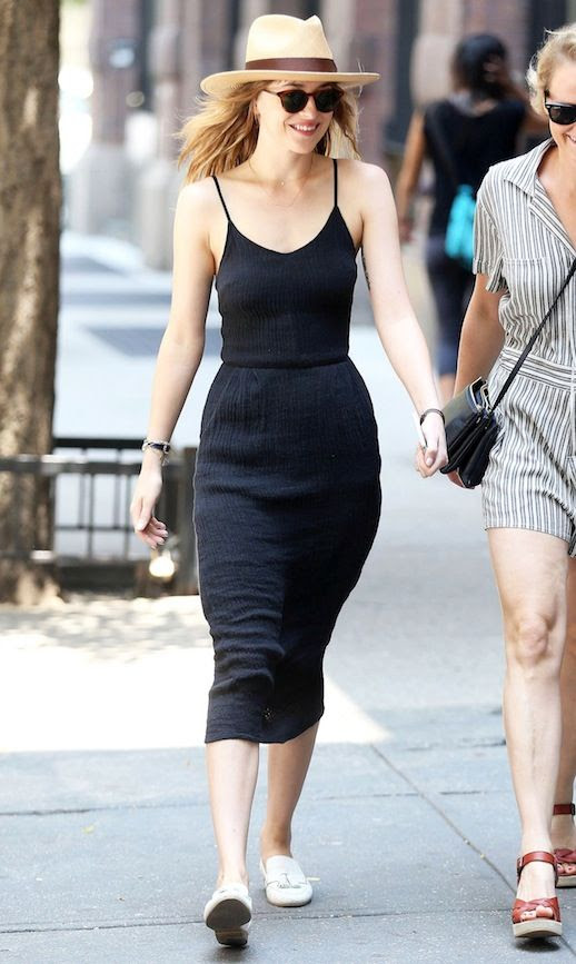 Le Fashion Blog Dakota Johnson Straw Hat Sunglasses Black Dress White Loafers Via Celeb Mafia