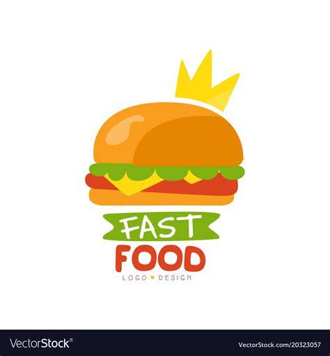 fast food logo design burger sign  crown vector image