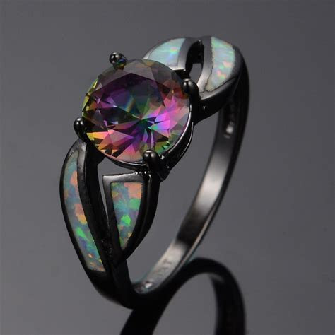 Round cut Mystic Rainbow Topaz Wedding Ring Fire Opal