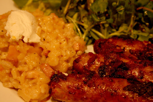 Butternut squash risotto with harissa sausages