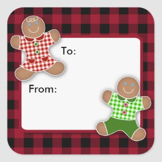 Gingerbread Cookies Christmas Square Stickers