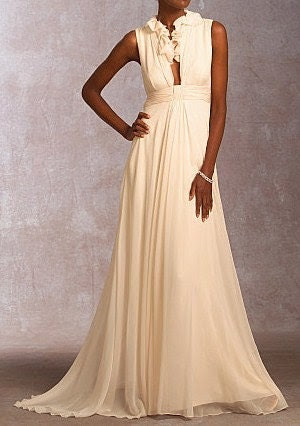 Floor Length Silk Chiffon Bridal Gown with Ruffled Bodice Detailing- Made to Order in Sizes 6-16