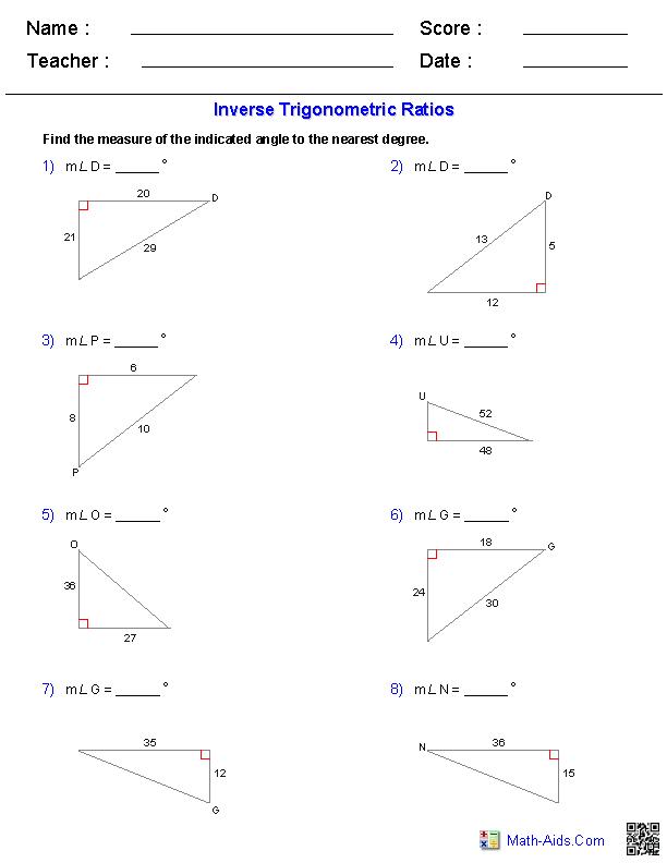 Geometry Worksheets Trigonometry Worksheets
