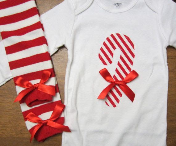 Adorable Candy Cane Onesie with matching leggings by rhondaksmith, $24.99