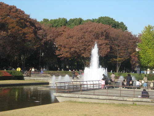 People watching the fountain at Ueno Park