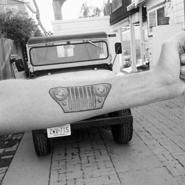 Mens Inner Antebraço Jeep Grille Tattoo