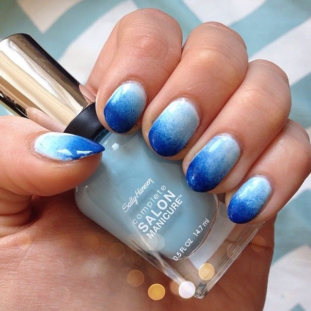 Blue And White Ombre Nails Coffin