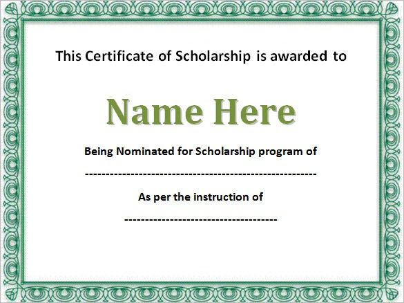 8+ Scholarship Certificate Templates – Free Word, PDF Format ...