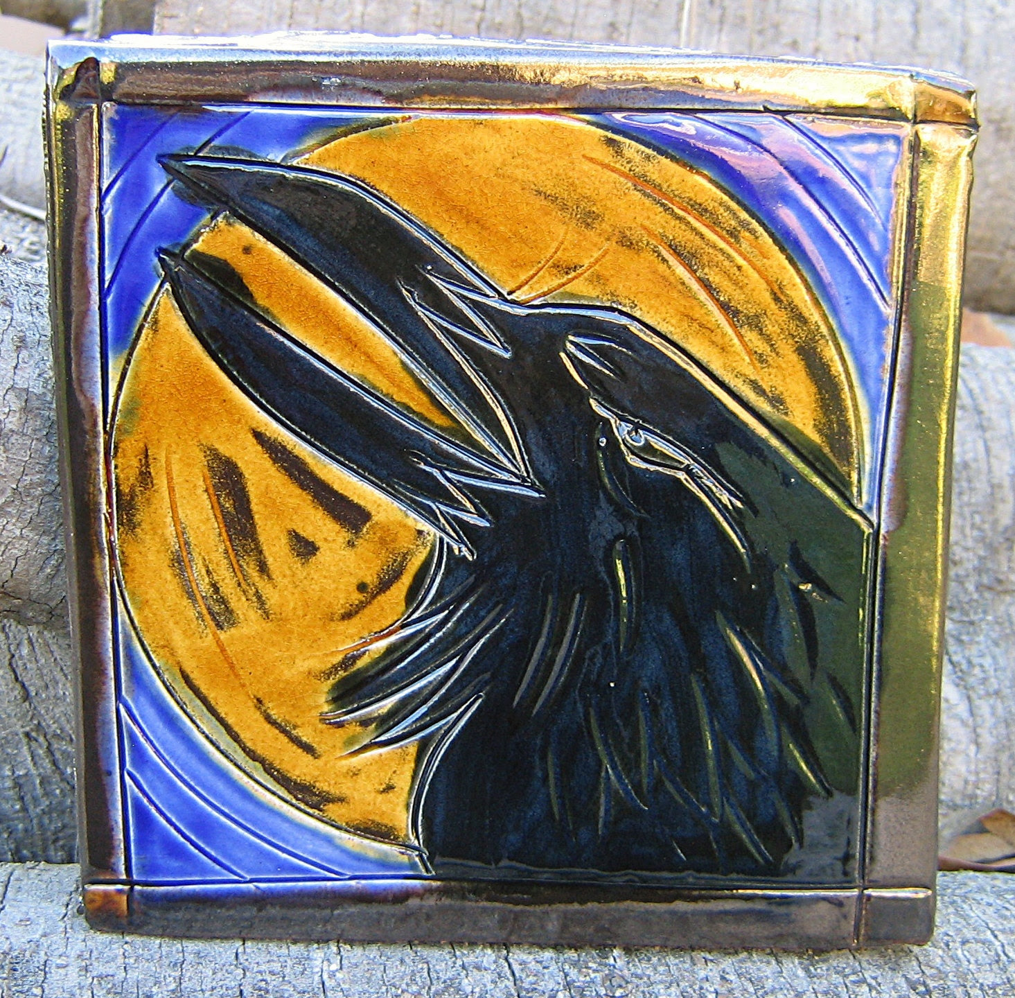 Raven and Moon Large Decorative Tile